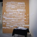 Robin Field paper chain guys Dimensions: 4' X 6' Medium: Paper and pins Format: Installation