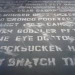 Frank Pietronigro Documents Installation, Text written in salt Variable dimensions 2012 Description: Derogatory words stenciled in salt on gallery floor.