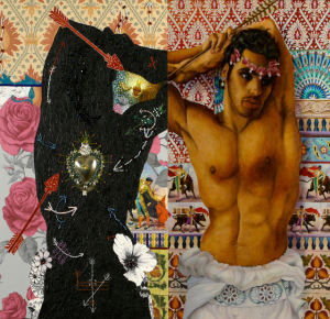 "St. Sebastian's Sacred Heart (2013) diptych, oil on linen, mixed media, beads, paper 38"" x 44"""
