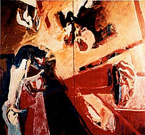 "Plate 1, Diptych, 1960 144"" x 96"" Oil Destroyed"